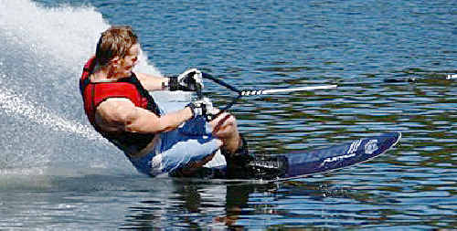 TOP SPEED: Gold Coast waterskier Joel Wing, pictured on the single ski, was on hand at the clinic to share his expertise. file