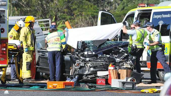 Three people, including a three-year-old-boy, were injured in a car accident at the intersection of the Bruce Highway and O'Connor Road, Benaraby.