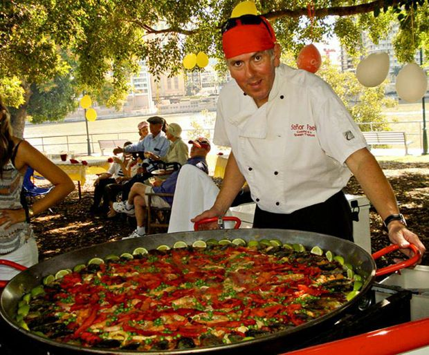 Senor Paella cooks genuine Spanish paella in real, giant paella pans, specially imported from Valencia in Spain.