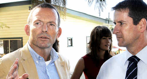 Opposition Leader Tony Abbott with Alstonville Public School P&C; president Scott Turner overlooking the latest construction at Alstonville Public School.