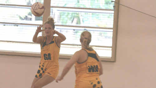 Gladstone's Poppy Larson (left) in action for the Capricorn Claws. Larson was left out of the final Claws Squad which will contest the Tier Two State Netball League preliminary final, July 24.