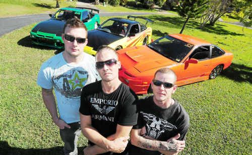 Coffs Harbour's Whiplash Racing team is made up of, from left, Shaun French, Hayden Walmsley and Blair Geeson.