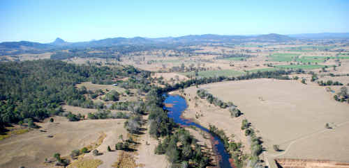 Site of the proposed dam wall for the Traveston crossing dam.
