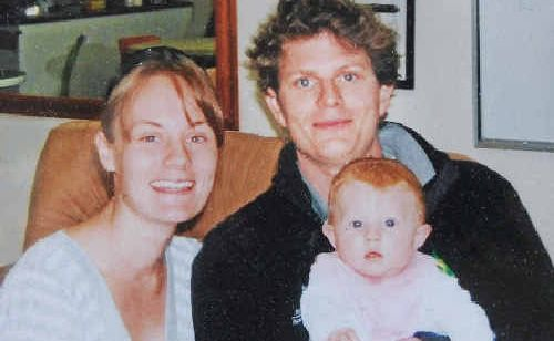 HAPPY COUPLE: Michelle Martin and Michael O'Keeffe and their daughter Ashlin celebrating Michael's 26th birthday in 2008.