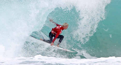 Garrett Parkes rides a wave at Victor Harbour this week.