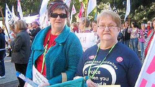 PAYROLL PROTEST: Queensland Nurses Union branch secretary Judy Matthews at Wednesday's rally. cont