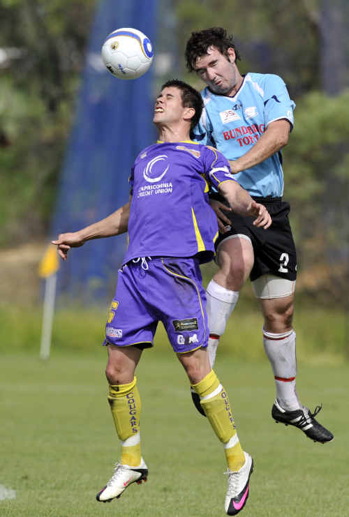 Bundaberg player Corey Uaack in action during the Queensland State League soccer match Capricorn Cougars.
