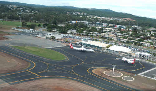This photo shows progress of the Gladstone Airport runway upgrade.