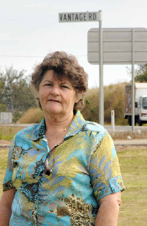 Nancy Evans at the Vantage Road/highway intersection.