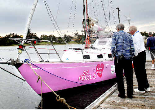 Ella's Pink Lady after the yacht berthed at Evans Head yesterday for repairs. The sailing boat was used by Jessica Watson to complete her record-breaking solo circumnavigation of the glode.