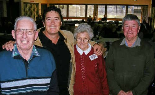 (From left) Col Cameron, Marco Gliori, Marg Wilkie and Joe Owens at a Senior Citizens function.