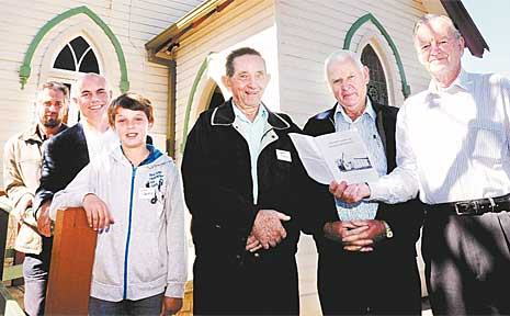 Taking part in the centenary celebrations for the Bangalow Uniting Church are (from left) Geoff Jarrett, the Reverend Tim Jensen, Nick Jarrett, Denis Jarrett and David Barnes.