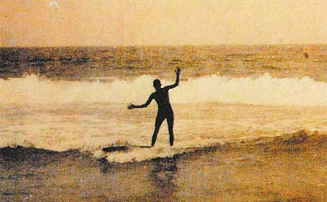 Tommy Walker was photographed surfing in Yamba in 1912. Is this Australia's first surf photo? Experts cannot disprove the claim.