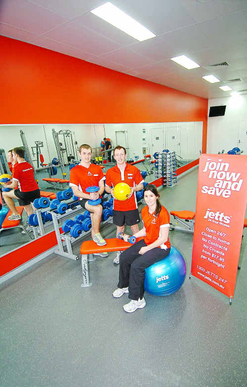 Jetts 24-hour fitness centre employees, Sam Lawrenc, Keegan Lankowski and Carlee Modra, are amazed at having over 300 members before they have even opened their doors.