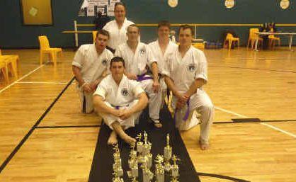 Enabling Arts Dojo martial artists Marty Stuart, Tomas Williams, Nathan Tansky, Beau Budak, Shaun Booth and Samantha Smith.