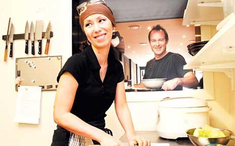 Zen Sushi owners Mayuni and Craig Alexander in their Keen Street restaurant.