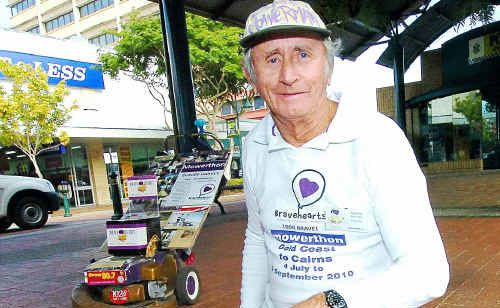 Claude Harvey is mowing his way to Cairns to raise money for Bravehearts.