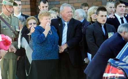Heartbroken: Kay and Gary Bewes were joined by thousands of people at the funeral of Nathan Bewes.