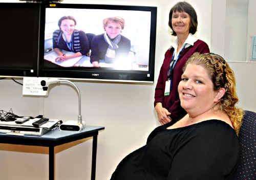 Paula Bailey with Hospital's credentialed diabetes educator Karen McSweeney.
