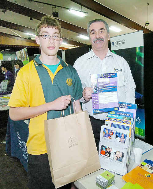 Ben Ellis of Burnett State School in Gayndah discusses career opportunities with Phil Branthwaite.