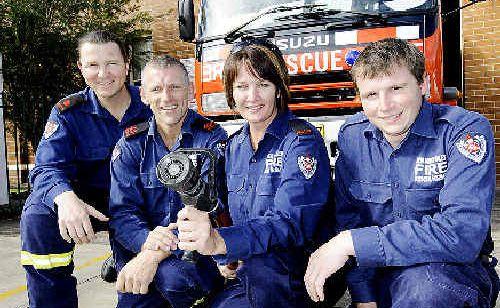 CASINO FIREYS: Deputy-captain Greg Miller (left), Jason Mackney, Sonya Marks and Damien Clark leaving for Port Macquarie.