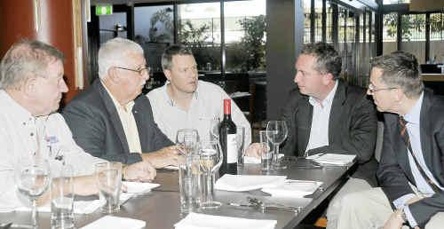 Don Andrewartha, Ed Morris, Darren Eising and LNP senators Barnaby Joyce and Brett Mason at Yaralla Sports Club.