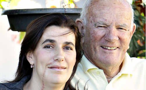 Feeling lucky: Alice West with her father Tim.
