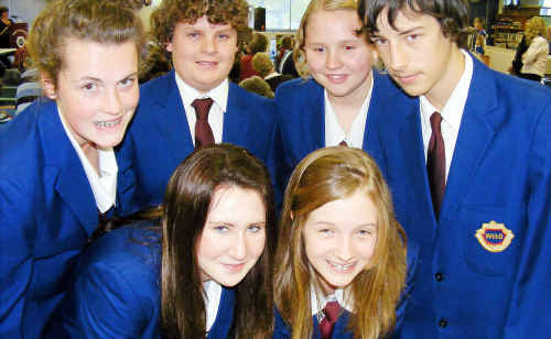 WSHS Year 9 students (back, from left) Ellen Hansen, Ben Vellacott, Jessica Hine, Lachlan Kraak (front) Lucy Boland and Holly Woodford were among the students who opened the pages to pupils from around the district.