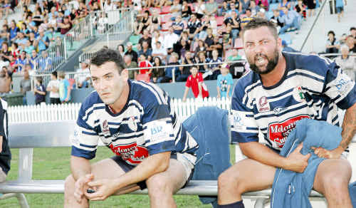 The Brothers' bench Chris Fitzhenry and Luke Turnbull know that time and the championship is slipping away.