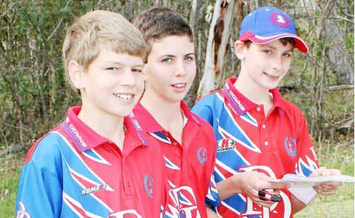 M13 sprint placegetters (from left) Simeon Burrill (Warwick High), Riley De Jong (Mater Dei) and Tom Ronnfeldt (Toowoomba Grammar) at Leslie Dam.