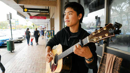 Josh Cho Sunguk is a familiar face and voice to many Bundaberg people as he serenades shoppers on Bourbong street.
