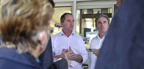 Nationals Senator Barnaby Joyce, left, and Page Nationals candidate Kevin Hogan in Grafton yesterday.