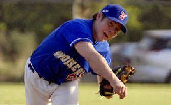 Thunderbolt: Lismore Workers' pitcher Bryce Martin in action at the weekend.