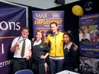 Checking out the Max Employment stand at The Chronicle Careers Expo are (from left) Centenary Heights State High School students Josh Brunner, Janessa Lawson, Olympic hockey gold medallist Angie Lambert and Centenary Heights State High School student Meryl Eaves.
