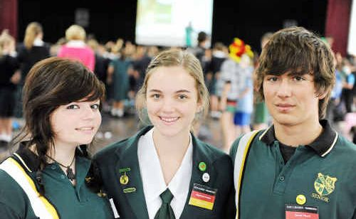 German exchange student Chantal Seel with Stephanie Peters and Swiss student David Phund at Kepnock High's German Day.
