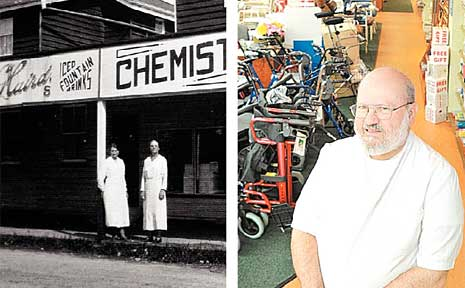 (Left) Pictured outside the Ocean Street pharmacy in 1935 is owner Miss E Watson (later Mrs Jacobs) and her mother; (Right) Warren Blee in the same store today.