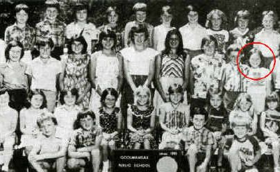 Goolmangar Public School in 1981: (Rear, from left) Mark Cregan, Matthew McNamara, Paul Cregan, Sharon Graham, Alison Savins, Rachael McNamara, Richard Doohan, Nicholas Beever, Darren Barnes, Sean Ardern; (centre) Mr King, Bart Doohan, David Willis, Alison McNamara, Penny Sommerville, Annette Doohan, Sonja Fetcher, John Duncanson, Peter Graham, Julian Assange, Mrs McLeod; (front) Sonia Doohan, Michelle Johnson, Kelly McParlane, Natalie Willis, Veronica Duncanson, Jeanne Moss, Nellie Lucas, Jacki Burgess, Tanya McNamara; (kneeling) Craig Ardern, Karl Steenson, Shayne Steenson, Brett Savins.