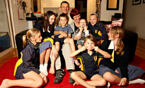 The Lunny family of Buderim have moved from England and are happy to be living in Australia. Claire and Ged with their 7 children, Imogen 13, Emilia 12, Alice and Izzy 10 (twins), Joe 7, Martha 6 and Tom 4.