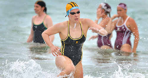 Learning curve: Ocean swimmer Amy Thompson is trying her hand at surf lifesaving.