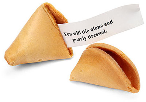With a combination of rude, insulting and hilarious messages hidden inside, the evil Misfortune Cookies come packaged in a ten pack take-out box to ruin your Chinese dinner nights.