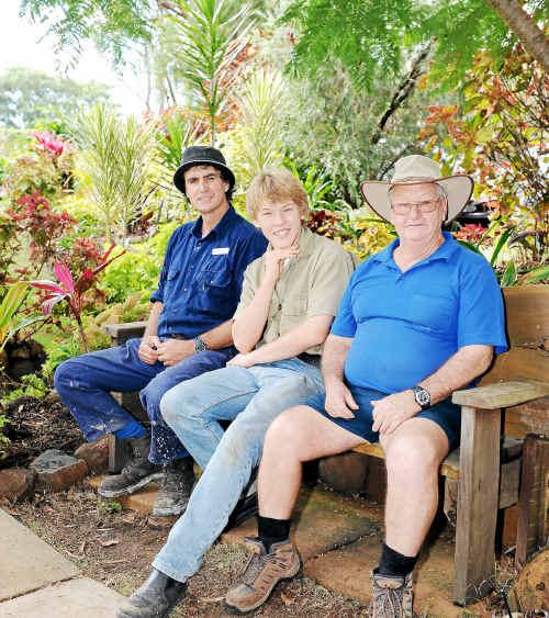 Outdoor supervisor Charlie Webster, volunteer gardener Thomas Bolton and leading hand gardener Ray Gough in the Salvation Army Tom Quinn Community Centre gardens.