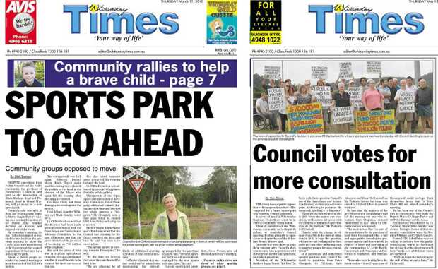 SPORTS PARK TO GO AHEAD - Whitsunday Times front page on March 11 this year. Council votes for more consultation - Whitsunday Times front page on May 13.