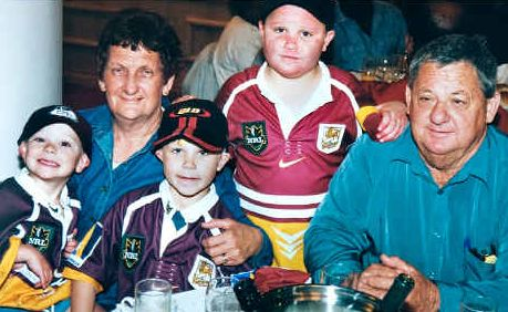 Sandra and Kevin Walters Snr with their son Kevin's boys, (from left), Jett, Billy, and Jack in 2000.