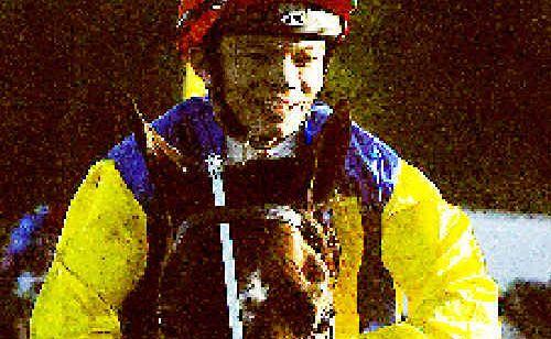 Jockey Marlon Dolendo brings the John Everson trained 2009 Lismore Cup winner Hecentadove back to scale.