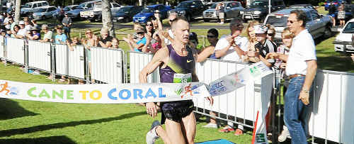 First man across the line in the 2010 Cane2Coral Dale Warrander from the Gold Coast, finished in an impressive 45.47 min.
