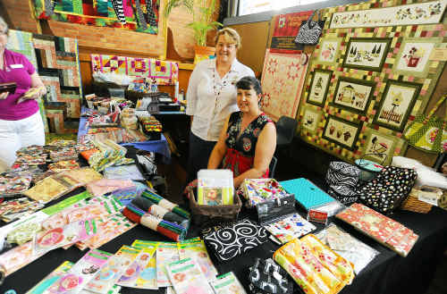 Owner of Patchwork Avenue Margaret Olive and Leigh Raar had a wide range of merchandise for sale at the Quilters Exhibition.