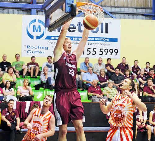 A slam dunk from Bundaberg Bulls player Matt Hanson.