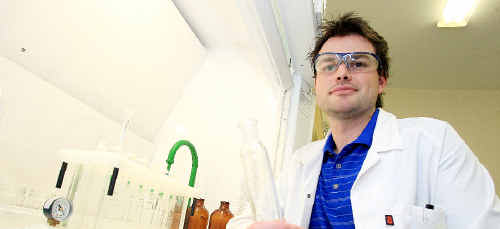 Laboratory technician Jared Martin working at the Tweed Laboratory Centre.