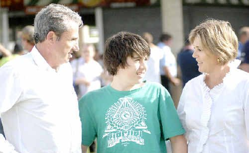 Nationals candidate for Page Kevin Hogan with son Sean, 13, and wife Karen at the Lismore Turf Club supporting the Lismore Truck Parade and Race Day on Saturday.