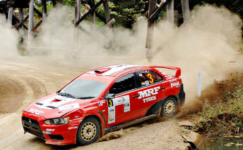 Gaurav Gill on his way to winning the International Rally of Queensland in Imbil State Forest.